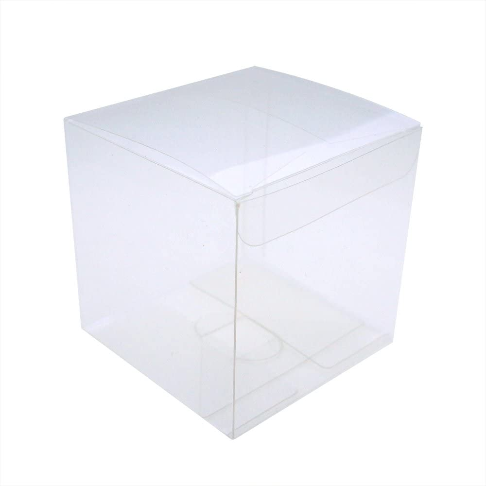 "MYStar 50 Pcs 2-3/4"" Clear Plactic Cubes, Tuck Top PVC Boxes for Cupcake Wedding Party Favor"