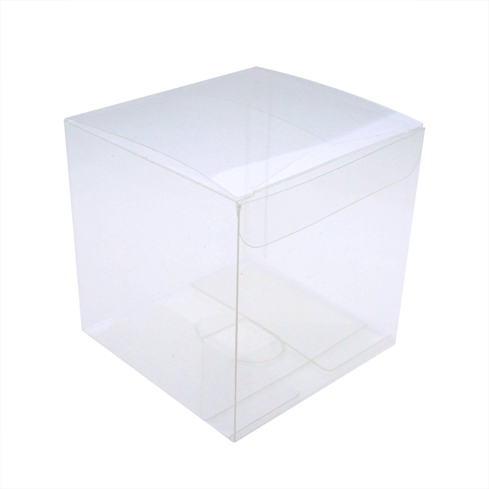 MYStar 50 Pcs 7 cm (2-3/4) Clear Plactic Cubes, Tuck Top PVC Boxes for Cupcake Wedding Party Favor BW0004