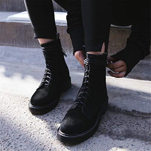 Negro Caminar Martin Segundo Botines Yan Botas Zapatos Para Mujer Cuero De Locomotora Invierno Otoño Batalla Británico Plana RZ8qBT