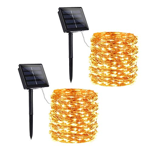 Solar String Lights 72ft 200 LED Solar Powered String Lights with 8 Lighting Modes, Waterproof Copper Wire Lights for Garden, Patio, Lawn, Landscape, Home Decor (Warm White, 2 Pack)