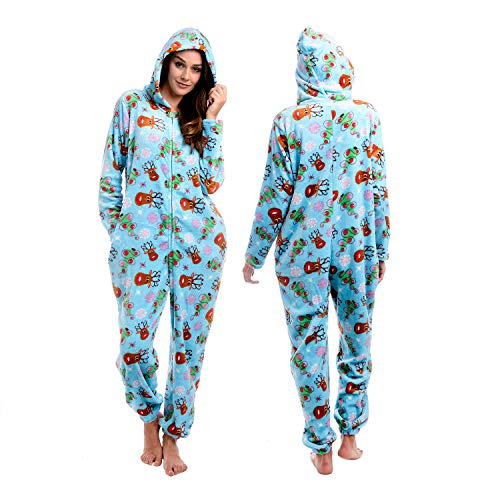 Body Candy Womens  Soft Hoodie Plush Onesie Critters, SO DEERLY, Blue - X-Large