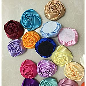 XGM GOU 10Pcs/Lot Handmade Dia 5.5Cm Fabric Satin Rose Flowers Artificial Flower DIY for Bridal Bridesmaid Wedding Bouquet Accessoires 6