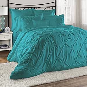 8 piece lucilla bed in a bag comforter sets queen king cal king size king teal. Black Bedroom Furniture Sets. Home Design Ideas