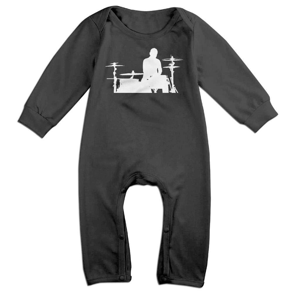 Silhouette of The Drummer and Drums Long Sleeve Infant Baby Bodysuit for 6-24 Months Bodysuit