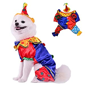 Leowow Dog Halloween Costume with Hat, Clown