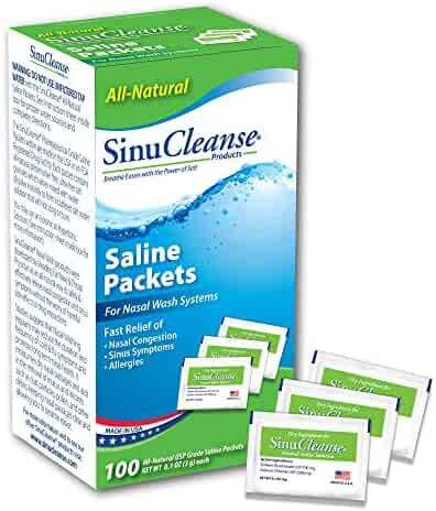 SinuCleanse All-Natural, Pre-Mixed Saline Packet Refills -  Pharmaceutical Grade, Buffered Salt Mix for Nasal Wash Systems - 100 Count