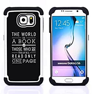 GIFT CHOICE / Defensor Cubierta de protección completa Flexible TPU Silicona + Duro PC Estuche protector Cáscara Funda Caso / Combo Case for Samsung Galaxy S6 SM-G920 // Book Reading Page Text White Black //