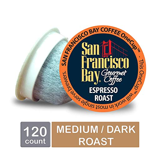 - San Francisco Bay OneCup, Espresso Roast, Single Serve Coffee K-Cup Pods (120 Count) Keurig Compatible
