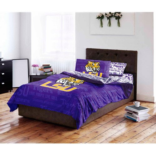5 Piece NCAA Tigers Comforter with Sheets Queen Set, Purple Yellow Multi Sports Patterned, Collegiate Football Themed Bedding, Team Logo Fan Merchandise Athletic Team Spirit Fan, Polyester, For Unisex - Ncaa 5 Piece Queen Comforter