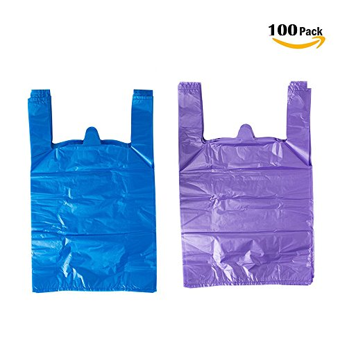 LazyMe 12 x 20 inch Plastic Thick Purple T Shirt Bags, Handle Shopping Bags, Multi-Use Large Size Merchandise Bags, Blue Plain Grocery Bags, Durable, 12 x 20inch, 100 pcs (100,Blue, Purple) (Bags Plastic 20 Shopping)