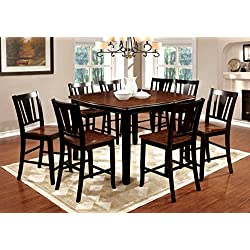 Furniture of America Macchio 9-Piece Transitional Pub Dining Set, Cherry/Black