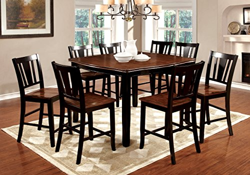 Furniture of America Macchio 9-Piece Transitional Pub Dining Set, Cherry/Black ()