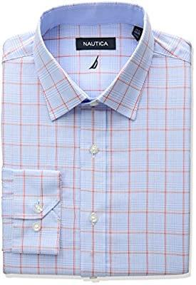 Nautica Men's Regular Fit Glen Plaid Dress Shirt
