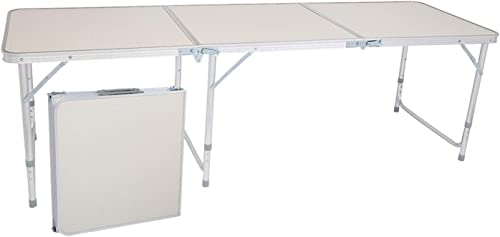 70.86 x 23.62 x 27.56 in Home Use Aluminum Alloy Folding Table White 180 x 60 x 70cm