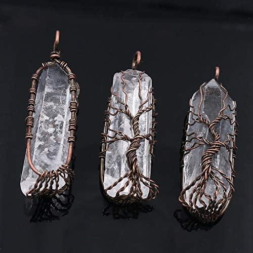 P010 GoldLock 7 Chakra Crystal Natural//Rainbow Stone Quartz tree of life Pendant Necklace for Women Men Pendulum Reiki Healing Chakra Jewelry