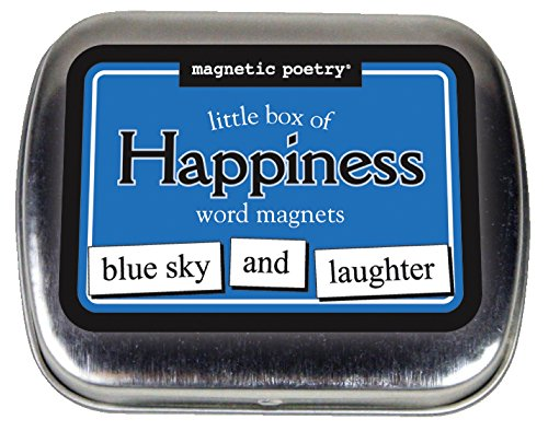 Happiness Refrigerator Magnet - Magnetic Poetry - Little Box of Happiness Kit - Words for Refrigerator - Write Poems and Letters on The Fridge - Made in The USA