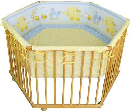 """Honey Bee"""" Parc bébé de luxe parc enfant 6 square parc de bebe bleu/jaune clair - motif éléphant 52304-D03"""