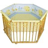 HONEY BEE Baby Laufgitter Laufstall 6 eckig + Einlage gelb/hellblau, Motiv ELEFANT 3 fach höhenverstellbar