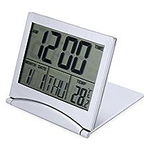 Foldable Travel Alarm Clock,LCD Mini Digital Screen Desk Clock with Temperature & Countdown(Silver) (Silver)