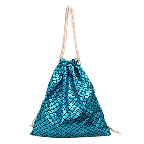 (Drawstring Backpack Lightweight Bags,YuhooSUN Fish Scale Pattern Shoulder Bag Messenger Bag for Women and Girl Blue)