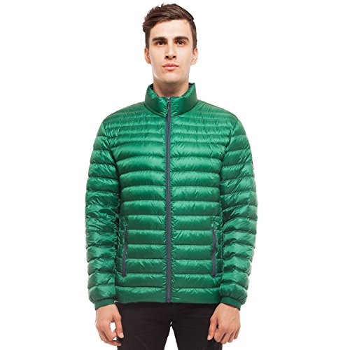 Rokka&Rolla Men's Ultra Lightweight Packable Puffer Down Jacket (M, Verdant Green) (Down Jacket Green)