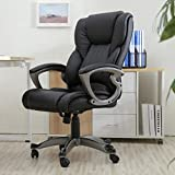 Belleze High Back Executive Office Chair Ergonomic Task Computer Swivel Tilt Lumber Support Faux Leather Desk, Black