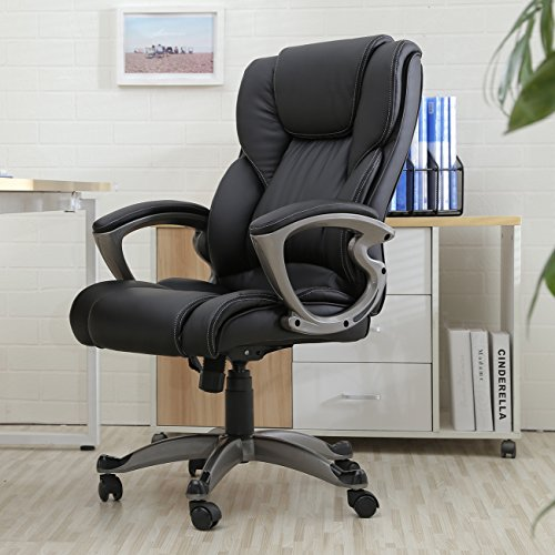Belleze High Back Executive Office Chair Ergonomic Task Computer Swivel Tilt Lumber Support Faux Leather Desk, Black - Back Executive Office Chair
