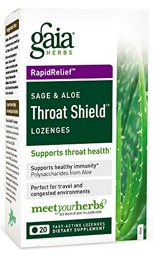 (Gaia Herbs Sage & Aloe Throat Shield Lozenges, 20 Count (Pack of 2) - Soothing, Hydrating Support for Throat Health and Inflammation)