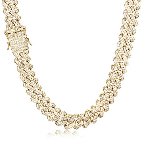 PY Bling 14K Gold White Gold Plated 12mm Hip Hop Full Iced Out Miami Cuban Link Chain Choker CZ Lab Diamond Necklace/Bracelet for Men (14k,22)