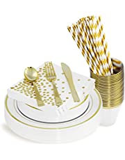 200 Piece Gold Disposable Cutlery Set | Plastic Gold Silverware | Heavyweight Quality Flatware | Includes 25 Forks, Spoons, Knives, 9 Oz Cups, Dinner Plates, Salad Plates, Napkins + Straws (Gold)