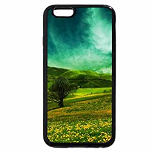 iPhone 6S Plus Case, iPhone 6 Plus Case, scenery with green hills and yellow flowers