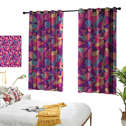 G Idle Sky Simple Curtain Patchwork Bedroom Blackout Curtains Stained Glass Mosaic Tile 63