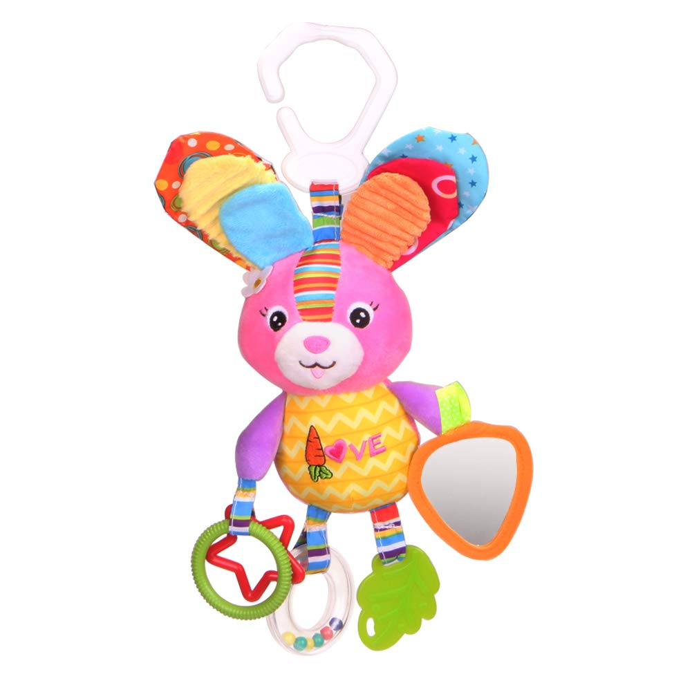Dmeixs Hanging Stroller Toys, Infant Teether Toys Squeaker Crinkly Ear,Baby Stroller Toys Colorful Car Seat Rattle Toys,Rabbit Toys Stroller,Car Seat,Infant Bed