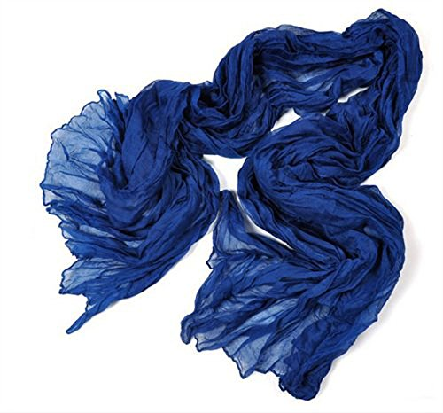 Kobwa(TM) Fashion Cotton and Linen Crinkle Long Scarf Shawl for Women ,Dark Blue with Kobwa's Keyring
