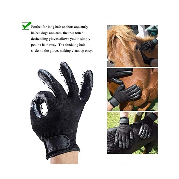ChuangYe 2Pcs Pet Grooming Glove for Dogs Cats and Horses Pet Hair Remover and Massage Glove 5
