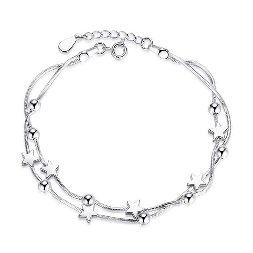 GLEEBRACEL 925 Sterling Silver Bracelets for Women Double Layer Star Square Round Beads Bracelets /& Bangles