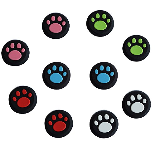 BFU 5 Pair Silicone Cat Dog Paw Analog Controller Joystick Thumb Stick Grip Cap Covers for PS2, PS3, PS4, Xbox 360, Xbox One Analog Stick Caps Replacement
