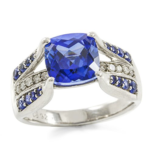 14k Diamond Estate Ring (Glamouresq Sterling Silver 14k White Gold Plated Created Blue Sapphire & Round Genuine Diamond Women's Ring, Size 6.5)