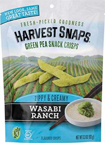 Harvest Snaps Green Pea Snack Crisps, Wasabi Ranch, 3.3-Ounce Bag (Pack of 12), deliciously baked and crunchy veggie snacks with plant protein and fiber