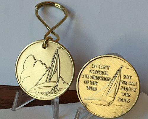 (Sail Boat We Can't Control The Wind Medallion Keychain With Bronze Sailing Coin Key Chain Set)