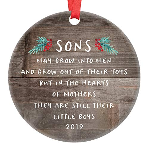 Gift for Son Christmas Ornament 2019 Sons In The Hearts of Mothers Poem Present Idea, Mom from Young or Grown Child Xmas Ceramic Farmhouse Keepsake 3