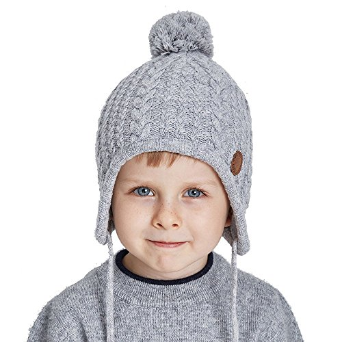 Toddler Ear Flap Beanie Unisex Children Winter Knitting Pom Pom Hat Girls Boys Hat,Light Grey,Normal one size fit for 18-21 inch with stretch (Childrens Ear Flap Beanie)