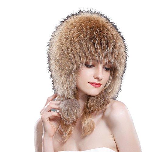 2b4b4670e0d9a Raccoon Fur Bonnet Hat with Pom Poms Natural Color by URSFUR (Image  8)