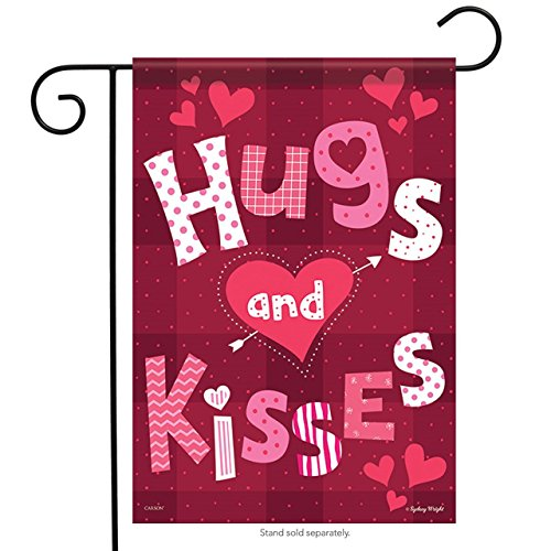 Hugs 18' (Brownrio Hugs & Kisses Valentine Garden Flag - 13 inches x 18 inches - Flag Trends)