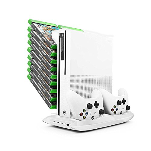 Xbox One S White Stand w/ Cooling Fan, Controller Charger, USB Ports and Game Storage Rack - Premium Xbox One Accessories