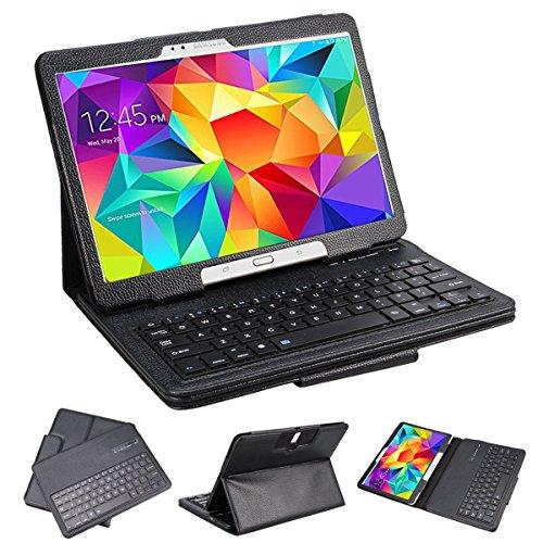 "SUPERNIGHT Samsung Galaxy Tab 3 10.1 & Tab 4 10.1 Case with Keyboard - Ultra Slim Detachable Bluetooth Keyboard Portfolio Leather Case Cover for Samsung Tab 3 & Tab 4 10.1"" Inch P5200 T530 T531 T535 Tablet , Black Color"