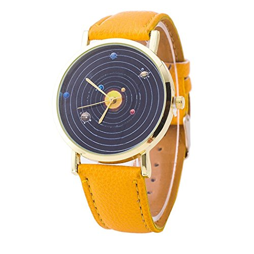 Vavna® Top New Unisex Student Solar System Print Quartz Women's Leather Wrist Watch - Yellow Gold by Vavna