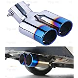 New 1Pcs Blue Double Outlets Exhaust Muffler Tail Pipe Tip Tailpipe for Ford Focus 2012-2016