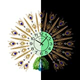 SE7VEN The peacock clock,Wall clocks large decorative European style Living rooms Clocks Household Silent Quartz Large wall clock-H 69x62cm(27x24inch) For Sale