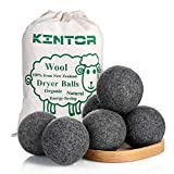 Wool Dryer Balls Dark Grey 6 Pack XL, 100% Organic Premium New Zealand Wool, 2.95'' Diameter Reusable Natural Fabric Softener Alternative, Reduce Wrinkles & Drying Time, Handmade by Kintor